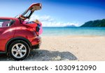 summer car with suitcase and... | Shutterstock . vector #1030912090