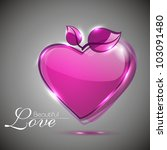 glossy pink heart shape with... | Shutterstock .eps vector #103091480