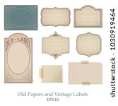 set of old papers  stained ... | Shutterstock .eps vector #1030919464