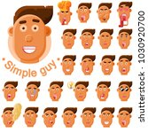 set of emotions for simple guy. | Shutterstock .eps vector #1030920700