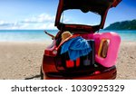 summer time and red car on... | Shutterstock . vector #1030925329