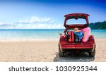 summer time and red car on... | Shutterstock . vector #1030925344