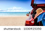 summer time and red car on... | Shutterstock . vector #1030925350
