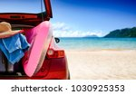 summer time and red car on... | Shutterstock . vector #1030925353