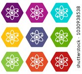 atom with electrons icon set