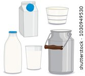 set of natural dairy products... | Shutterstock .eps vector #1030949530