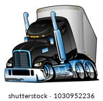 semi truck with trailer cartoon ... | Shutterstock .eps vector #1030952236