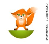 isolated red cartoon fox cub on ... | Shutterstock .eps vector #1030958650
