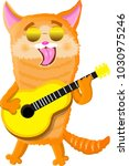 Stock vector world cat day playing the guitar 1030975246