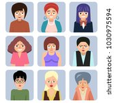 women's cartoon avatars  ... | Shutterstock .eps vector #1030975594