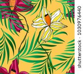 palm leaves pattern background... | Shutterstock .eps vector #1030976440