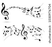 abstract music notes on line... | Shutterstock .eps vector #1030976704
