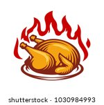 hot chicken fire label template | Shutterstock .eps vector #1030984993