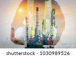double exposure of engineer...   Shutterstock . vector #1030989526