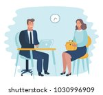 a timid man at hated work with... | Shutterstock .eps vector #1030996909