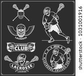 lacrosse club labels  emblems ... | Shutterstock .eps vector #1031001916