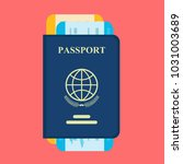 vector passport with tickets.... | Shutterstock .eps vector #1031003689