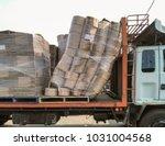 damaged goods on trucks ... | Shutterstock . vector #1031004568