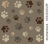 Stock vector camouflage paw print pattern background 1031010139