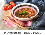 traditional homemade sausages... | Shutterstock . vector #1031014210