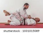 brazilian jiu jitsu training... | Shutterstock . vector #1031015089