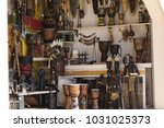 souvenir shop showcase with... | Shutterstock . vector #1031025373