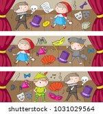 children theatre patterns....   Shutterstock .eps vector #1031029564