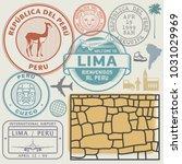 travel stamps or symbols set...   Shutterstock .eps vector #1031029969