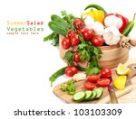cooking salad  fresh vegetables ... | Shutterstock . vector #103103309
