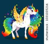 white pony unicorn with golden... | Shutterstock .eps vector #1031035216