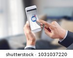 businessman hand touch email... | Shutterstock . vector #1031037220