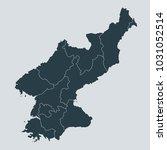 north korea map on gray... | Shutterstock .eps vector #1031052514