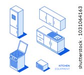 isometric kitchen electronics... | Shutterstock .eps vector #1031064163