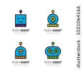 robots funny mascots logo set.... | Shutterstock .eps vector #1031064166