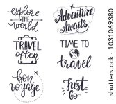 set of inspirational travel... | Shutterstock .eps vector #1031069380