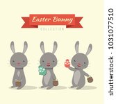 cute easter bunny collection | Shutterstock .eps vector #1031077510
