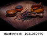 wooden board for tea drinking... | Shutterstock . vector #1031080990