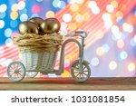 easter card. golden eggs in a... | Shutterstock . vector #1031081854