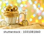 easter card. golden eggs in a... | Shutterstock . vector #1031081860