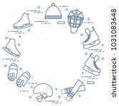 skates  gloves  hat  goalkeeper'... | Shutterstock .eps vector #1031083648