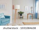 oversized  wooden lamp standing ... | Shutterstock . vector #1031084638