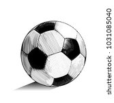 Hand drawn vector illustration with soccer or football ball, in engraved outline style
