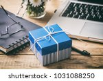 father's day concept. blue gift ...   Shutterstock . vector #1031088250