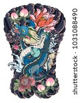 japanese old dragon tattoo for... | Shutterstock .eps vector #1031088490