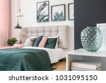 modern  glass vase in a bedroom ... | Shutterstock . vector #1031095150