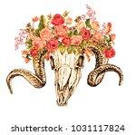 sheep skull and flowers ... | Shutterstock . vector #1031117824