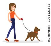 Stock vector walking with a dog vector illustration of a fresh air walking walk 1031121583