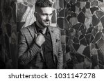 handsome young elegant man pose ... | Shutterstock . vector #1031147278