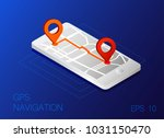 gps map navigation app on... | Shutterstock .eps vector #1031150470