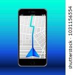 navigation map. arrow. vector... | Shutterstock .eps vector #1031156554